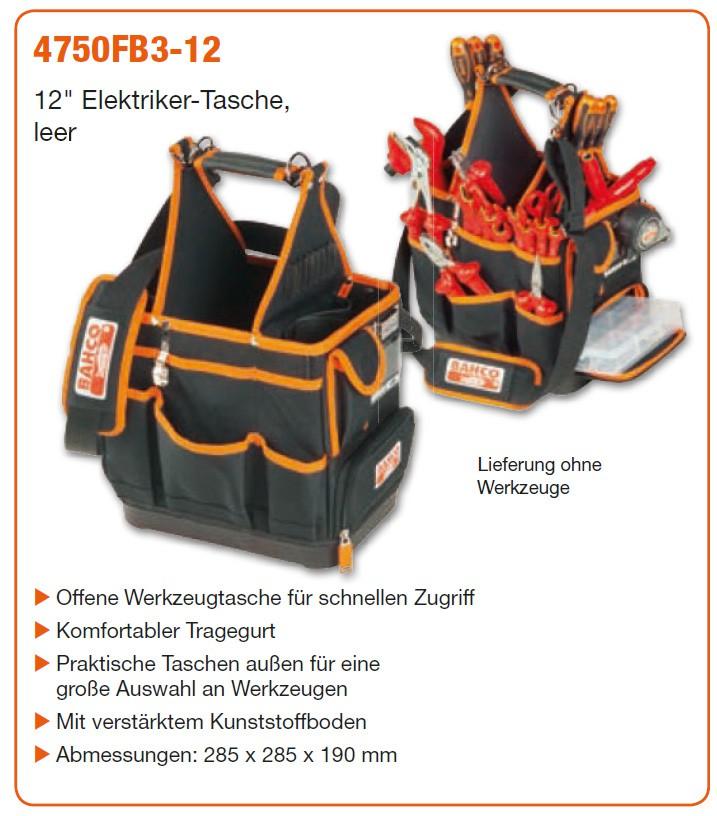 """BAHCO 12"""" Elektriker-Tasche ohne Werkzeug"""