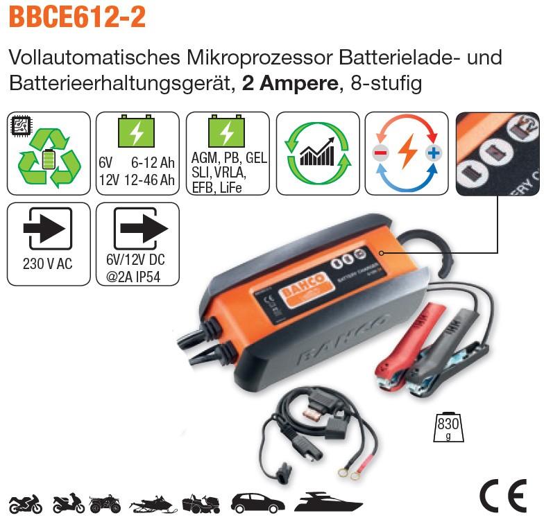 Vollautomatisches Mikroprozessor Batterieladegerät 2 Ampere, 8-stufig