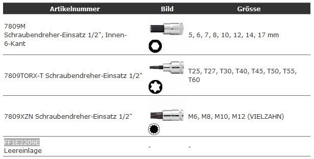 """1/3 Einlage Schraubendreher-Einsätze 1/2"""", 20-teilig, FF1E2209"""