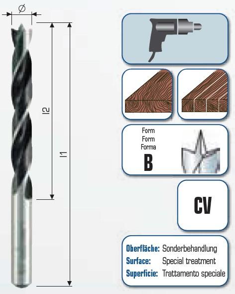 Maschinenholzspiralbohrer