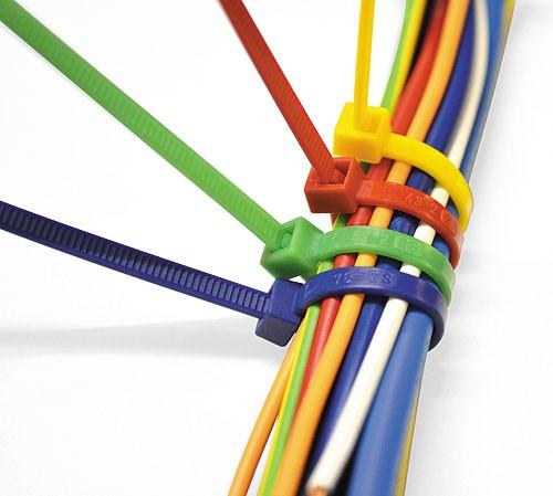 Kabelbinder blau, rot, grün, gelb,  lösbar (Pro Verpackung 100 Stück)