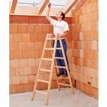 Z300 Holz-Sprossen-Stehleiter, beidseitig begehbar