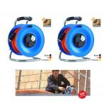 Bedruckungs-Paket 1: 2 x Kabeltrommel Professional Kunststoff, 50 m H07BQ-F 3G1,5 mit 3-fach- Steckdose DiagS