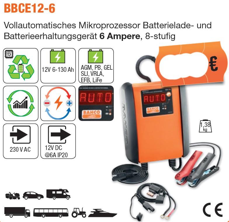 Vollautomatisches Mikroprozessor Batterieladegerät 6 Ampere, 8-stufig