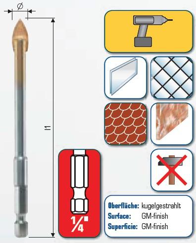 Hartmetall-Glasbohrer