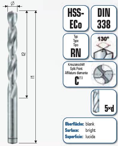 HSS PZ-Cobalt KURZ, DIN 338 RN