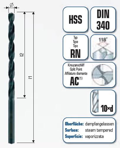 HSS Spiralbohrer lang Industriequalität mit Kreuzanschliff AC 501 in der 10er BOX
