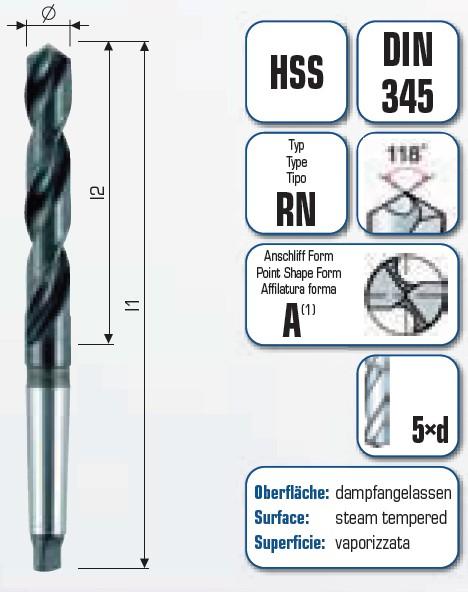 HSS Spiralbohrer mit Morsekegel MK4