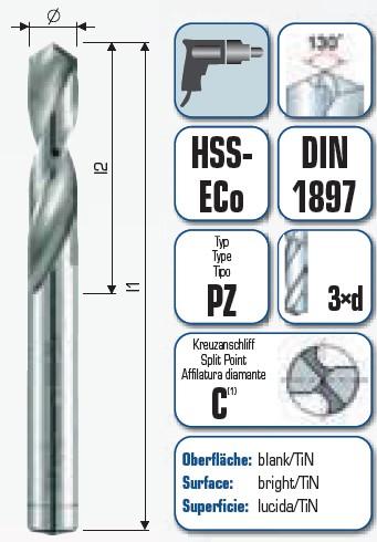 HSS PZ-Cobalt extra kurz DIN 1897 PZ