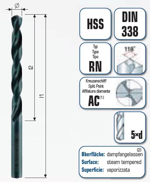 HSS Spiralbohrer Industriequalität mit Kreuzanschliff AC 601 in der 5er BOX