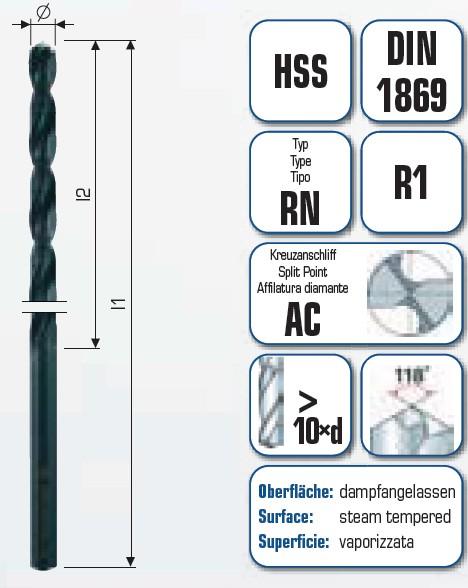 HSS Spiralbohrer überlang Industriequalität mit Kreuzanschliff AC 101