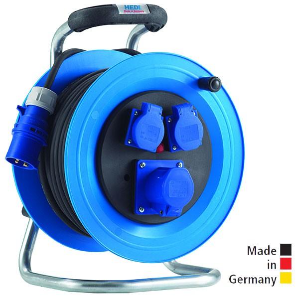 Kabeltrommel Professional Kunststoff, 33 m H07RN-F 3G2,5 mit 1 CEE Steckdose 3x16 A und 2 Schuko-Steckdosen sowie Überlastschutz