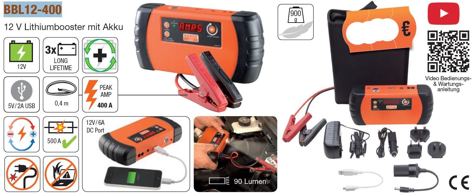 Mehrzweck 12V-Booster und Batterie-Paket, mit USB-Schnittstelle