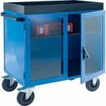 Schrankwagen mit 3-seitigem Stahlblech und Türen mit Makrolon-Scheiben