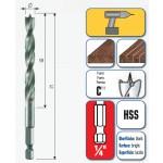 HSS Maschinen Holzspiralbohrer mit 1/4˝Sechskantschaft