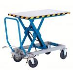 Scheren-Hubtischwagen Tragfähigkeit 500 kg Vollgummireifen